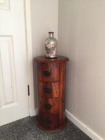 Sheesham Indian wood round drawers