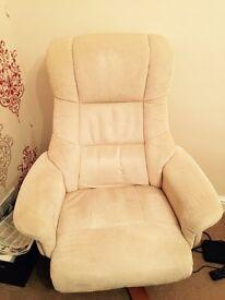 Cream swivel recliner chair