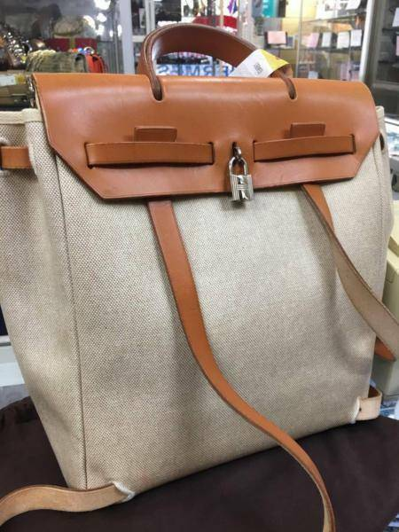 744695ccd42 Hermes Herbag Ado 2 in 1 Beige Canvas Brown Leather Backpack Auth ...