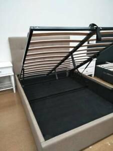HEAVY REDUCED!!! New Sophie Gas Lift Queen Bed in Dark Beige