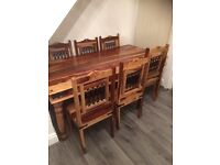 Hardwood dinning table with 6 chairs