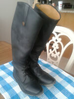 Black leather field boots