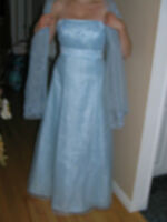 Formal Light Blue Dress with Shall
