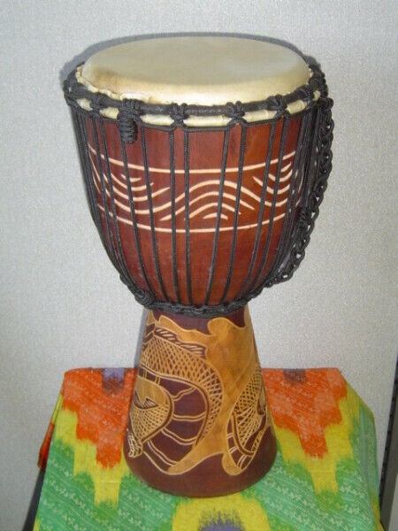 "SALE, NEW 16"" Handmade DJEMBE HAND DRUM BONGO Dragons (M7)"