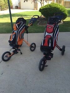 Fold up Golf bags and carts
