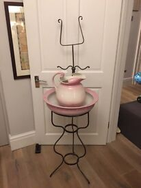 Antique metal washstand, jug, basin & soap dish
