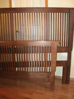 Solid Oak Queen size headboard, footboard and mattress