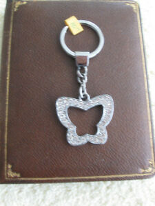 LADY'S DELUXE JEWELLED POLISHED CHROME BUTTERFLY  KEY CHAIN