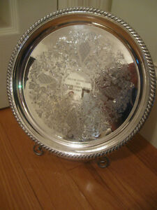 GORGEOUS ORNATE VINTAGE ['70's] ROUND SILVER-PLATED SERVING TRAY