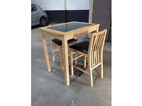 2 seater wood and marble table