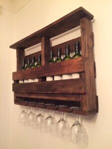 Handcrafted Hardwood Pallet Wine Bottle and Glass Display