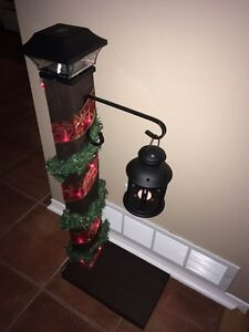 Christmas solar light post
