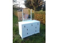 Shabby chic solid wood chest of drawers dressing table mirror