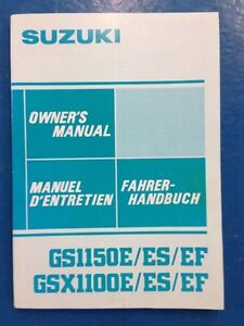 Suzuki GSX1100 & 1150 E/ES/EF Owners Manual