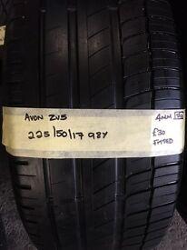 225/50/17 98Y Avon ZV5 partworn tyre