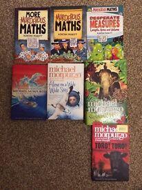 Selection of children's books Michael Morpurgo and Murderous Maths