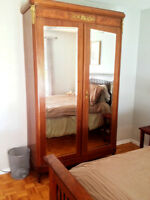 beautiful solid armoire 1920, chairs, grandfather clock