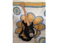 'Vintage' brand bass guitar and Fender 'Frontman 15B' amp