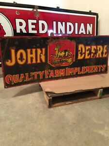 Rare double sided porcelain John Deere sign SOLD pending payment