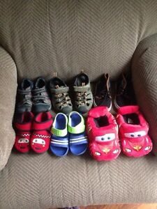 Boys sneakers,sandals and slippers all size 9