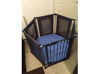 Lindam Playpen Safe And Secure Play Pen With Blue Mat