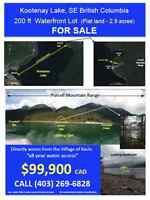 200 ft WATERFRONT LOT For Sale - Kootenay Lake, BC