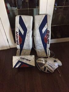 Bauer goalie pads,glove,blocker