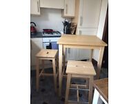 IKEA bjorkudden table and 2 stools PRICE DROP 40 ONO