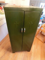 Vintage Christian storage closet. Two large cross in front.