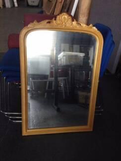 Golden Mirror rare Antique Vintage Art fancy glitter girly hip