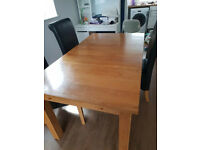 Old Creamery extending Dining Table and 6 Leather Chairs