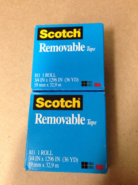 NEW 2 Rolls Scotch Magic REMOVABLE Tape 810   3/4 inch x 1296 inch