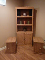 Oak Book Case and Two End Tables