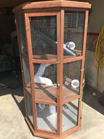 Large mahogany multi-level ferret cage for sale