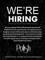 Seeking TWO Experienced Hairstylists
