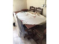 Big solid dining table and 6 chairs