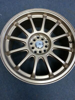 ssr type f gold 18x8 5100 114.3 +40 offset fit wrx forester n mo