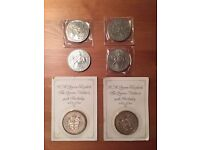 £5 five pound coins and crowns silver currency sovereign money cash queen mother