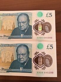 £5.00 notes AA