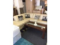 Cream leather corner sofa £250 includes delivery