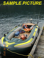 4 man fishing dingy boat w/paddles, vests & NEW trolling motor