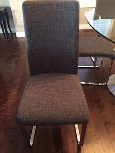 Glass Top Dining Table & 6 Grey Chairs