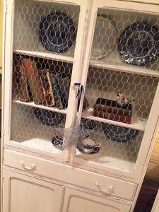 Restored&Refinished Cherry Cabinet/Chicken Wire