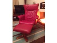Red leather recliner chair and stool