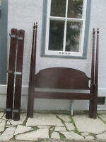 "Amazing TALL (84"") Mahogany Antique Double Bed"