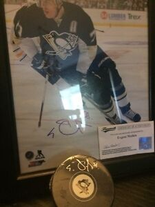 Selling autographed evgeni Malkin puck and photos