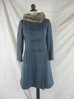 Vtg 50s 60s Blue Womens Vintage Wool & Mink Princess Coat Jacket W 34