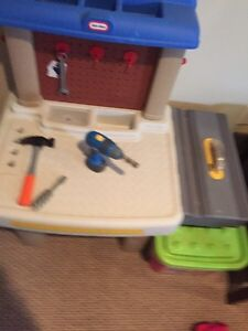 Kids workbench with a few tools