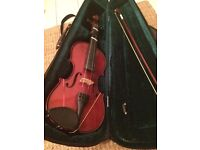 3/4 wooden violin with case, bow and rosin