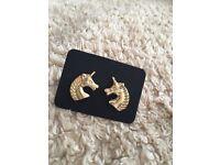 Brand new Gold Unicorn Earrings